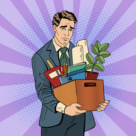 fired: Fired Frustrated Pop Art Businessman with Box of Personal Items. Vector illustration