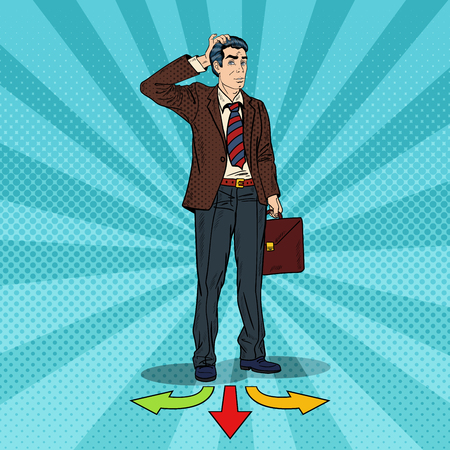 Pop Art Businessman Choosing the Way on Crossroads. Vector illustration