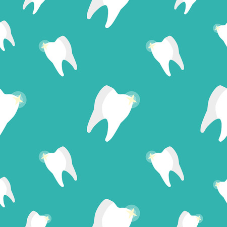 hygienist: Healthy Teeth Seamless Pattern. Vector background
