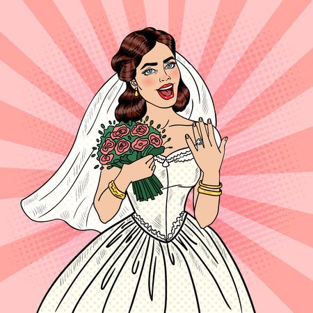 wedding  art: Pop Art Happy Bride with Flowers Bouquet Showing Wedding Ring. Vector illustration