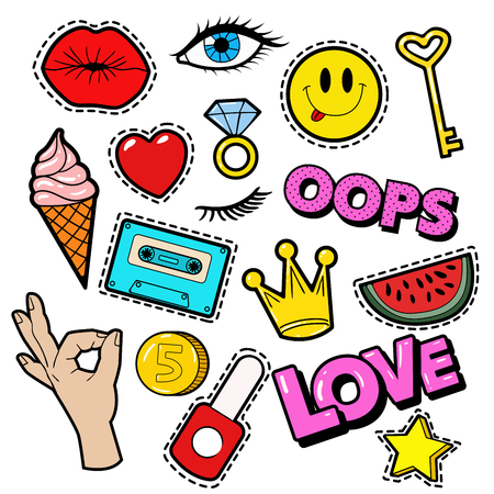 Mode Abzeichen Set mit Aufnäher, Aufkleber, Lippen, Herz, Stern, Hand in den Pop-Art-Comic-Art. Vektor-Illustration Standard-Bild - 63611894