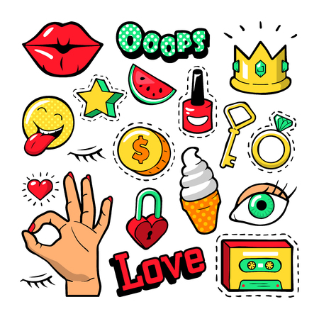 Fashion Badges Set with Patches, Stickers, Lips, Heart, Star, Hand in Pop Art Comic Style. Vector illustration Imagens - 63611895