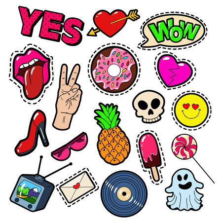 Fashion Badges, Patches, Stickers set met Meisjes Elements - Lips, Hart, snoep, Speech Bubble en Ice Cream in het Pop-art Grappige Stijl. vector illustratie