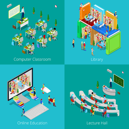 Isometric Educational Concept. University Computer Classroom, Online Education, Library with Students, College Lecture Hall. Vector 3d flat illustration 版權商用圖片 - 63611903