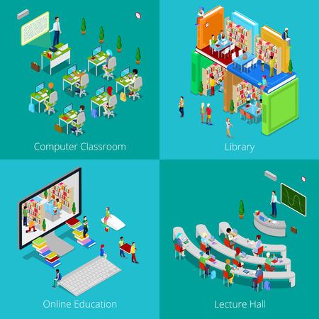 Isometrica concetto educativo. Università Computer Aula, formazione online, Biblioteca con studenti, Università Lecture Hall. Vector 3d piatta