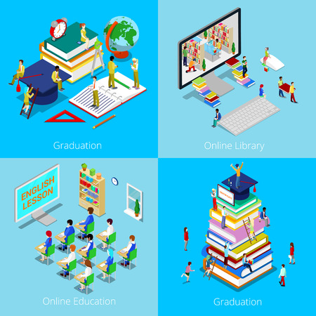 onderwijs: Isometric Educational Concept. Online Education, Online Library, Graduation with Cap and Students. Vector 3d flat illustration