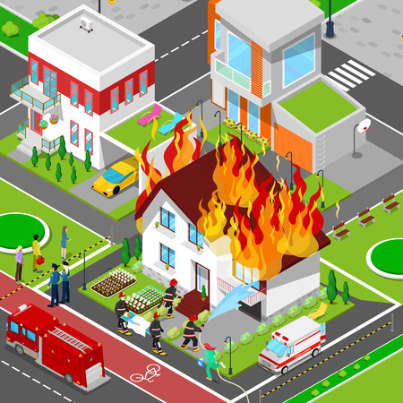 fireman: Firefighters Extinguish a Fire in House Isometric City. Fireman Helps Injured Woman. Vector 3d Flat illustration Illustration