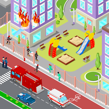 helps: Firefighters Extinguish a Fire in House Isometric City. Fireman Helps Injured Woman. Vector 3d Flat illustration Illustration
