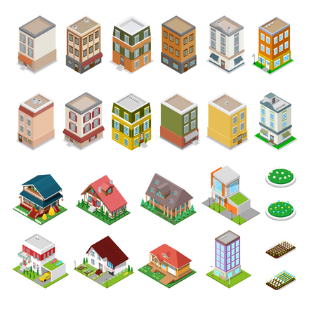 house building: Isometric City Buildings Set. Modern Houses with Flowers. Vector illustration