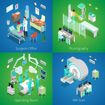 Isometric Hospital Interior. Medical MRI Scan, Operating Room with Doctors, Fluorography Process, Surgeon Office. Vector 3d flat illustration Illustration