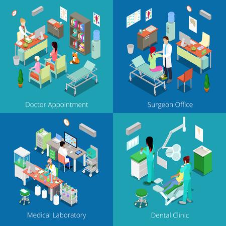 Isométrica interior del hospital. Citas con el Médico, Laboratorio Médico, clínica dental, cirujano Oficina. Vector ilustración plana 3d Ilustración de vector