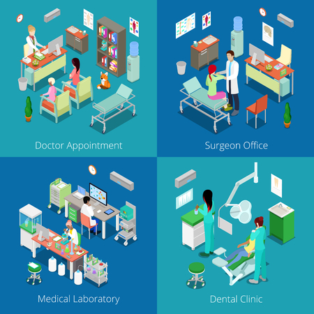 Isometric Hospital Interior. Doctor Appointment, Medical Laboratory, Dental Clinic, Surgeon Office. Vector 3d flat illustration Illustration