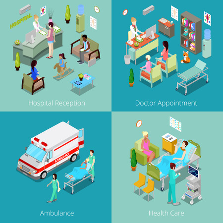 doctor appointment: Isometric Hospital Interior. Doctor Appointment, Hospital Reception, Ambulance First Aid, Health Care. Vector 3d flat illustration