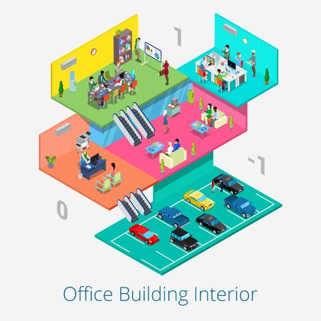 business meeting room: Isometric Office Center Interior. Business Meeting Room, Reception, Car Parking Floor. Vector 3d flat illustration