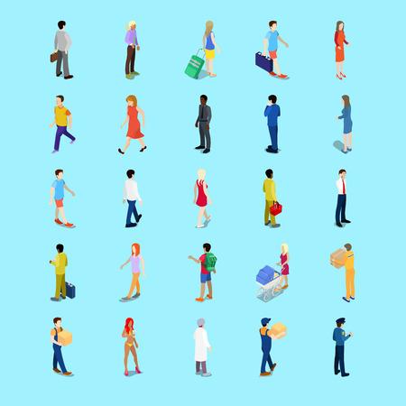 Isometrische People Collection. Zakenman, toerist, moeder met kinderwagen, Wandelen Mensen. Vector 3d flat illustratie Stock Illustratie
