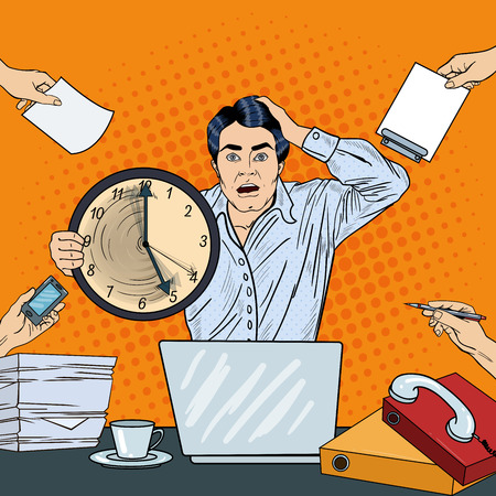 Stressed Pop Art Business Man Holding Big Clock at Multi Tasking Office Work Deadline. Vector illustration Vectores