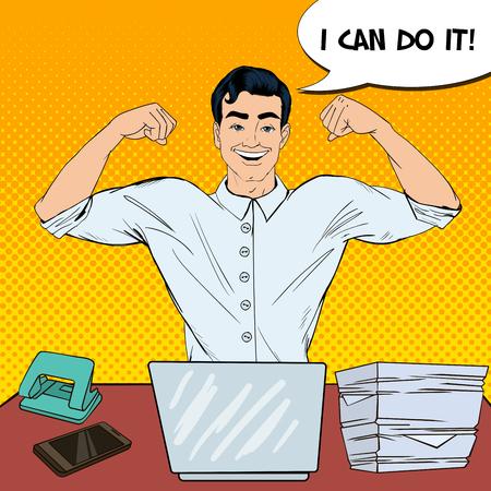 computer art: Pop Art Successful Multi Tasking Businessman with Laptop at Office Work. Vector illustration Illustration
