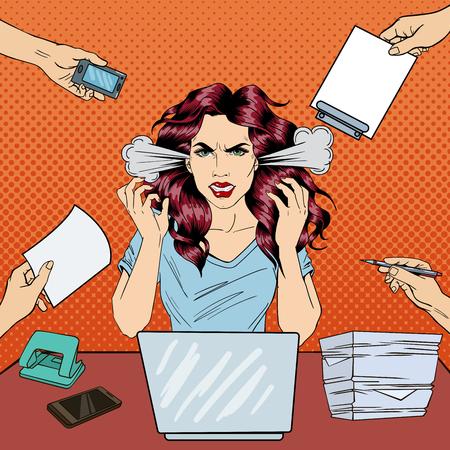 Art Pop Crier Angry affaires Femme avec un ordinateur portable au travail de bureau. Vector illustration Vecteurs