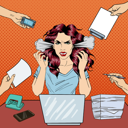Pop Art Screaming Angry Business Woman with Laptop at Office Work. Vector illustration Ilustração Vetorial