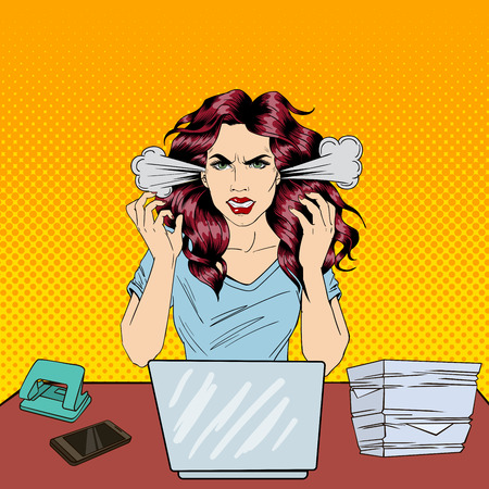 Pop Art Screaming Angry Business Woman with Laptop at Office Work. Vector illustration