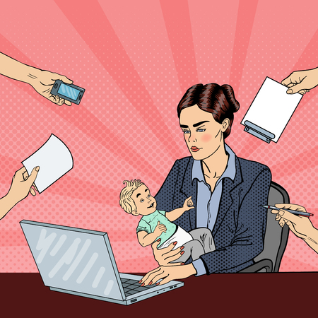 multi tasking: Pop Art Business Woman with Laptop Holding Newborn Baby at Multi Tasking Office Work. Vector illustration