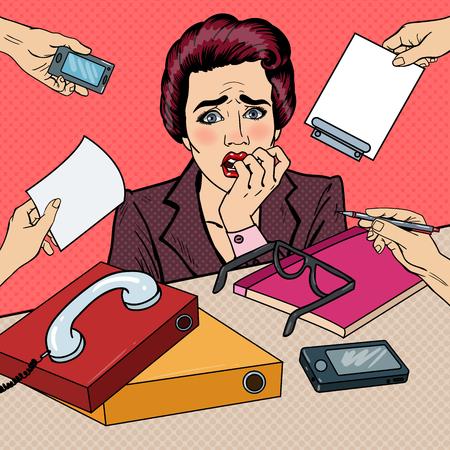 multi tasking: Pop Art Nervous Business Woman Biting Her Fingers at Multi Tasking Office Work. Vector illustration