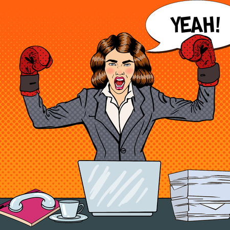 Pop Art Business Woman in Boxing Gloves at Multi Tasking Office Work. Vector illustration Иллюстрация