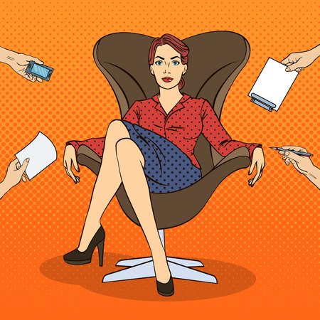multi tasking: Pop Art Successful Business Woman Sitting in Luxury Chair at Multi Tasking Office Work. Vector illustration Illustration
