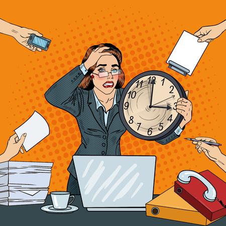 Stressato Pop Art Woman affari con il grande orologio a Deadline Multi Tasking Lavoro d'ufficio. illustrazione di vettore Archivio Fotografico - 63612018