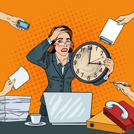 Stressed Pop Art Business Woman with Big Clock at Deadline Multi Tasking Office Work. Vector illustration Ilustração