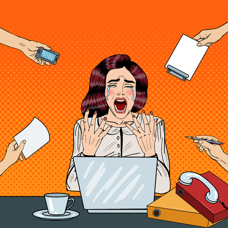 Pop Art Crying Stressed Business Woman Screaming at Multi Tasking Office Work. Vector illustration Illustration