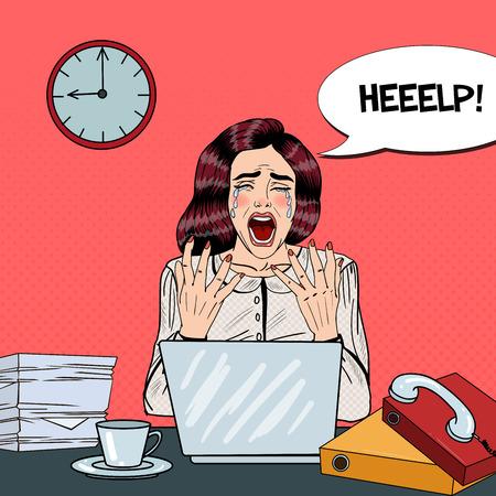 マルチタスク事務に叫んでビジネス女性を強調したポップアートが泣いています。ベクトル図