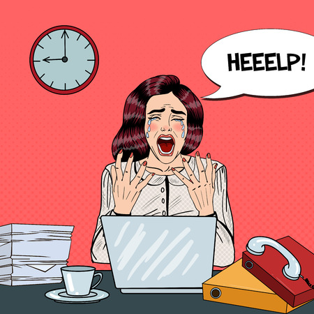 tasking: Pop Art Crying Stressed Business Woman Screaming at Multi Tasking Office Work. Vector illustration Illustration