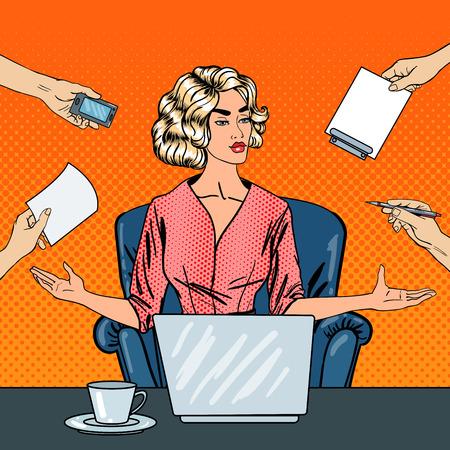ポップアートは、ビジネスの女性事務作業をマルチタスクでノート パソコンとを強調しました。ベクトル図
