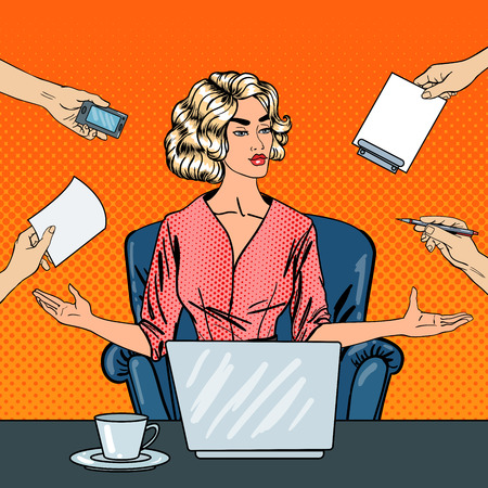 multi tasking: Pop Art Stressed Business Woman with Laptop at Multi Tasking Office Work. Vector illustration
