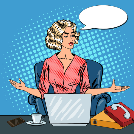 tasking: Pop Art Stressed Business Woman with Laptop at Multi Tasking Office Work. Vector illustration