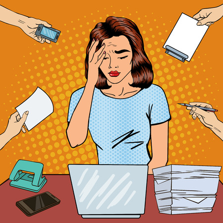 feeling exhausted: Pop Art Business Woman has a Headache at Office Multi Tasking Work. Vector illustration Illustration