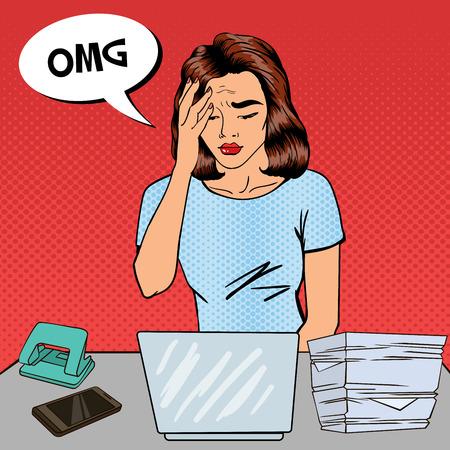 Pop Art Business Woman has a Headache at Office Multi Tasking Work. Vector illustration Illustration