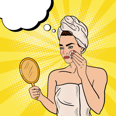 look in mirror: Pop Art Beautiful Woman Removing Makeup from her Face in Bathroom. Vector illustration