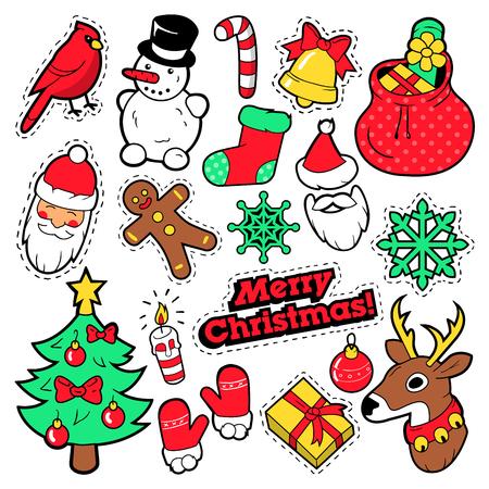 Etiquetas engomadas de la Feliz Navidad, remiendos, etiquetas engomadas - Papá Noel, muñeco de nieve, copo de nieve, árbol de navidad en estilo cómico del arte pop. Ilustración del vector