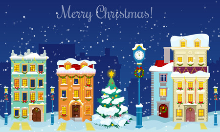Merry Christmas Cityscape with Snowfall, Houses and Christmas Tree Greeting Card. Vector background