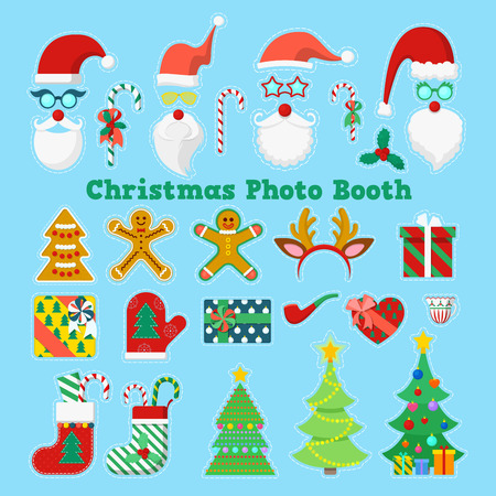 prop: Merry Christmas and Happy New Year Photo Booth Party Elements with Glasses, Props and Antlers. Vector illustration