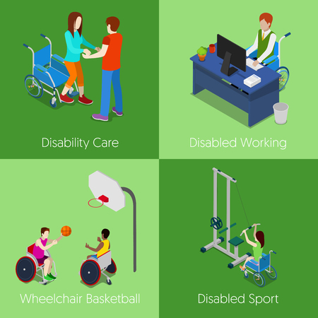 invalid: Isometric Disabled People. Disability Care, Disabled Working, Wheelchair Basketball, Disabled Sport. Vector 3d flat illustration Illustration