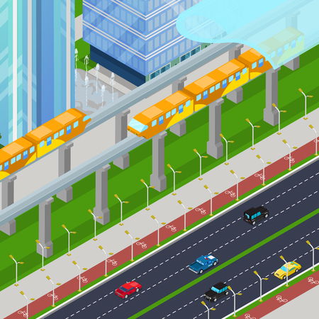 monorail: Isometric Monorail Railway Train in Modern City with Skyscrapers. Vector 3d flat illustration
