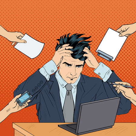 multi tasking: Pop Art Stressed Businessman with Laptop Grabbed His Head at Multi Tasking Work. Vector illustration