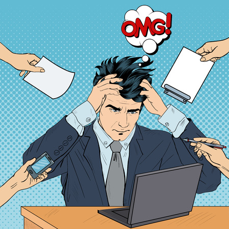 tasking: Pop Art Stressed Businessman with Laptop Grabbed His Head at Multi Tasking Work. Vector illustration