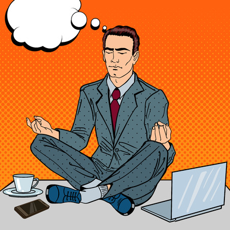 computer art: Pop Art Businessman Meditating on the Office Table at Multi Tasking Work. Vector illustration