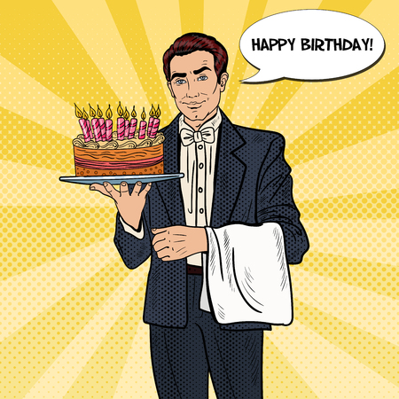 adult birthday party: Pop Art Professional Waiter Man Holding Tray with Happy Birthday Cake. Vector illustration