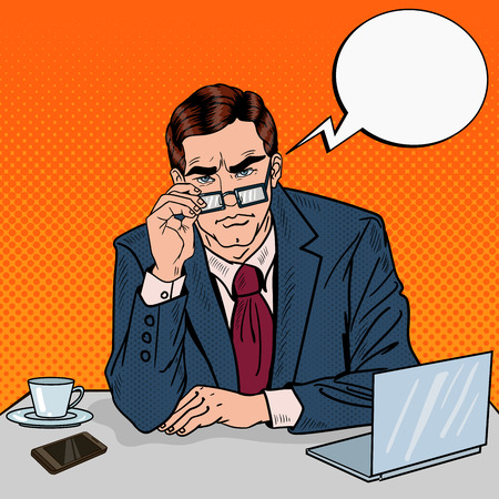 Pop Art Serious Businessman with Eyeglasses at Office Work. Vector illustration