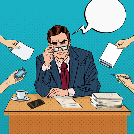thoughtful: Pop Art Serious Businessman with Eyeglasses at Multitasking Office Work. Vector illustration